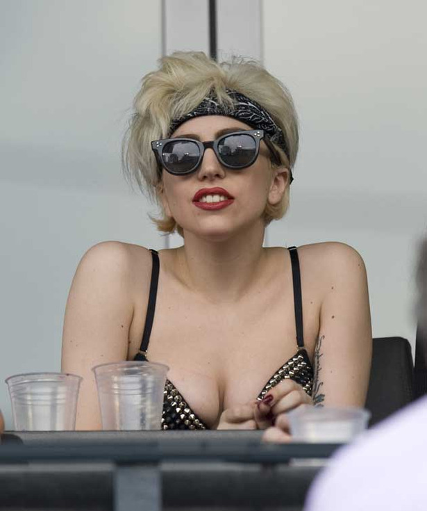 Lady Gaga Shows Some Cleavage, Gives the Finger at Baseball Game