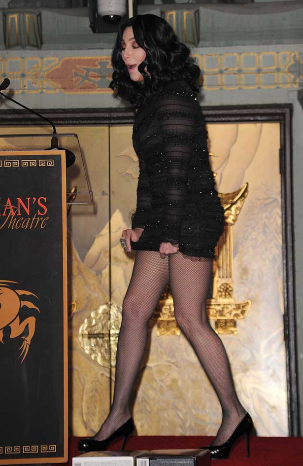 Cher Flashes Panties at Grauman's Chinese Theater Hand and Footprint Ceremony